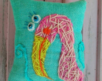 Just One of The Pretty Girls Freehand Embroidered Flamingo Pillow Made To Order