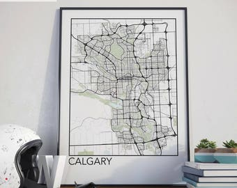 Calgary, Alberta Minimalist City Map Print