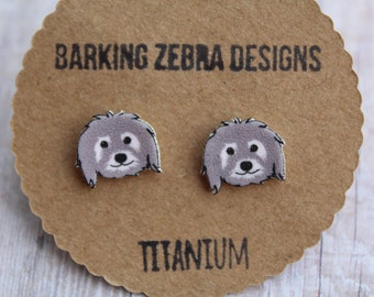 Gray Dog Earrings | Dog Face Stud Earrings | Cute Dog Jewelry | Titanium Studs | Hypoallergenic | Puppy Earrings | Dog Accessories