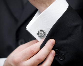 Monogram Cufflinks -  Personalized Mens Sterling Silver Initial Cuff Links -  Gift for Men - Wax Seal Personalized CuffLinks - Wedding