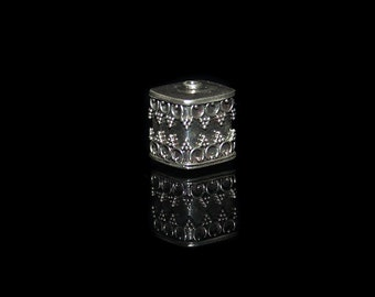 Single 12mm Sterling Silver Cube Beads, 12mm Sterling Silver Bead, Bali Bead, Sterling Silver Bali Beads, Silver Beads, Bali Beads
