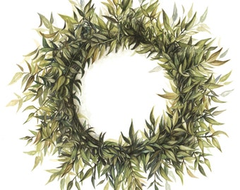 Wreath Art Print - Wreath Painting - Wreath Watercolor Painting - Wreath - Home Decor - Greenery - Floral - Watercolor - Home