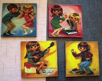retro big eye print coasters vintage kitsch mod bar decor gogo sad eye bar decor