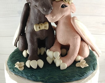 Dragons Wedding Cake Topper - Choose your Colors