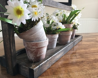Wooden Carrier with Daisy filled Terracotta Pots
