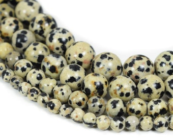 "Natural Dalmatian Jasper Beads, Full 15.5"" Strand Natural Round Wholesale 4mm 6mm 8mm 10mm 12mm"