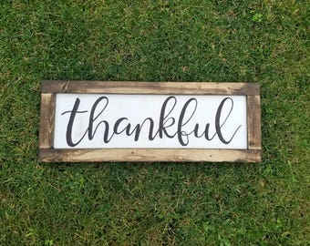 Thankful Sign | White Wood Sign | Hand Painted | Farmhouse Sign | Home Decor | Rustic |