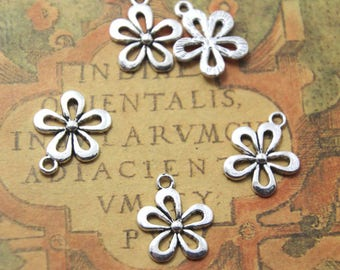 25pcs Silver tone Daisy flower Charms Pendants, Daisy Charms 18x15mm ASD1069