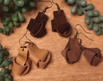 Handmade Leather Knot Earrings