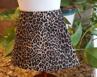 """LEOPARD print & BLACK reversible A-line wrap around skirt made for 18"""" American Girl Doll"""