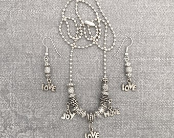 Love, Joy, Hope Tibetan Silver Beaded Neckless & Earring Set,  Perfect Gift, Birthdays, Easter, Mother's Day, BFF, Gift Under