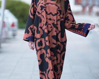 Casual Maxi Dress for Womens, Printed Abaya Dress, Long Sleeves Maxi, Extravagant Long Dress, Zipper Maxi for Women - KA0326GE