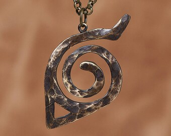 Naruto Hidden Leaf Konoha Symbol Anceint looking Brass Necklace Pendant