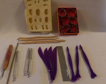 Clay Sculpting Tools and Molds   24 pieces