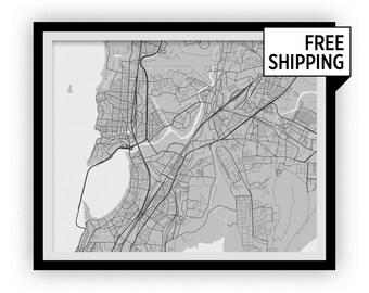 Mumbai Map Print - Choose your color