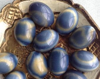 Vintage Blue Marbleized Plastic Beads, 24mm, 6pcs