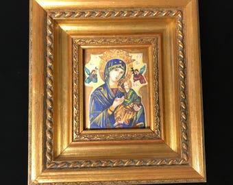 Framed Religious Enameled Painting