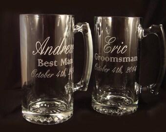 Chopes à bière gravé personnalisé pour votre fête de mariage - mariage personnalisé verres - personnalisé chopes à bière - père de cadeau de la mariée