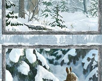 Winter Whispers Rabbit Panel 38514 414