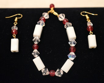 18k Gold Filled Ruby and Quartz Bracelet and Earring Set