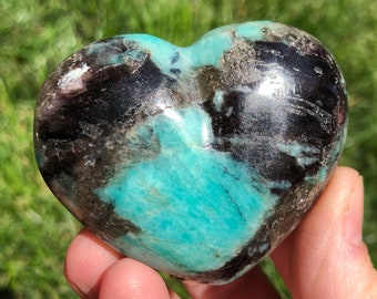 "2.3"" Amazonite, Smoky Quartz, Lepidolite and Tourmaline Heart #1"