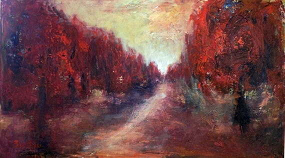 ORIGINAL Oil Painting Red Trees Abstract Realism Art 36x20 by BenWill