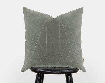 Samt Kissen grau   18 x 18 Grafik und geometrische Kissenbezug, Kissenhülle in grau   Mitte Jahrhundert moderne Wohnkultur