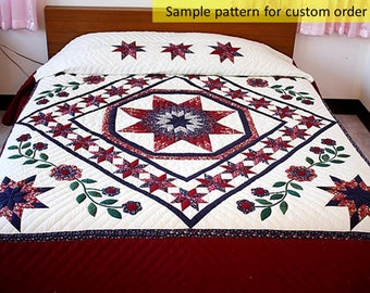 Amish Pattern quilts, Queen quilts, King size quilts, Star & floral quilts, Hand Stitched, Unique Gift, Traditional Amish quilts, Patchwork