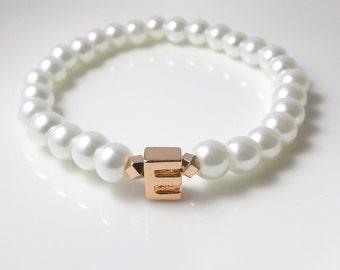 Rose Gold Flower Girl Bracelet • Children's Pearl and Uppercase Initial Bracelet • Flower Girl Personalized  • Children's Jewelry • For Kid