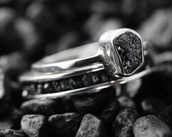 Wedding Ring Set Engagement Ring Black Diamond Ring Wedding Band Set Wedding Ring Diamond Ring Sterling Silver Ring Engagement Rings