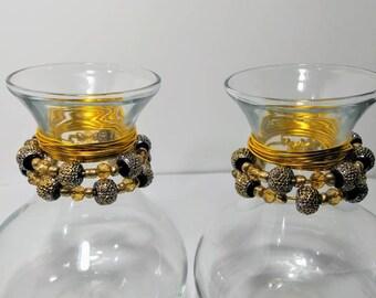 Gold beaded vase set