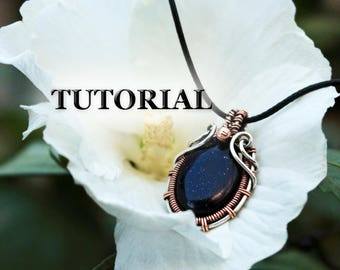 Wire wrap tutorial - Silver copper - Wire wrapped pendant tutorial - Wire jewelry tutorial - Tutorial wire wrapped jewelry - Wire tutorial