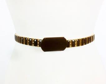 Vintage 1970s Gold and Brown Painted Metal Link Belt