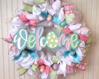 White burlap Easter wreath, Easter egg wreath, white burlap spring wreath, Easter wreath, spring wreath, Easter welcome sign, Easter eggs