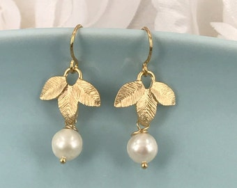 Freshwater Pearl and matte gold leaves  Bridal Earrings
