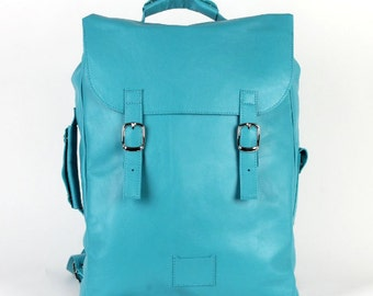 SALE! / Turquoise large leather backpack rucksack / To order / Leather Backpack / Leather rucksack / Womens backpack / Gift