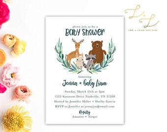 Woodland Eucalyptus Baby Shower invitation - Printable or Printed Animal Baby Shower Invite - 5x7