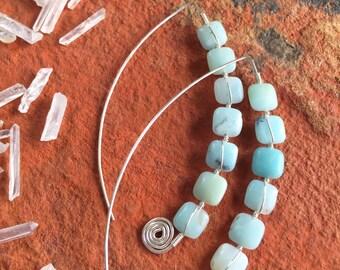 Sterling Silver Elliptic Hoop Ear Threads with Amazonite Gemstones - Statement Hoop Earrings by Adrienne Adelle - Ellipse Earrings -