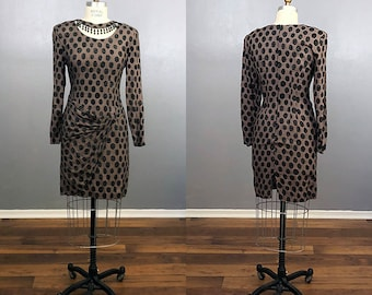 Vintage Brown Geometric Print Dress with Beaded Neck and Ruched Asymmetrical Bow Front 90s Nineties Sarong Draped Skirt Beaded Collar Wiggle