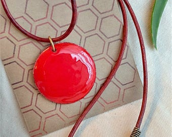 Red Circle Enameled Pendant Necklace