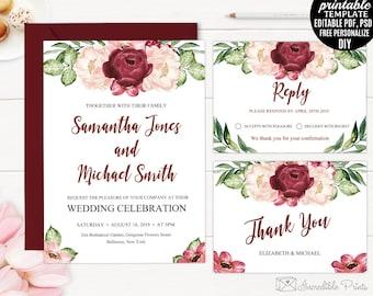 Wedding Invitation Template. Printable Marsala Watercolor Flowers Wedding Invitation. Floral Bordo Burgundy Bohemian Red PSD PDF DIY Blush