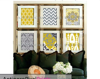 Ikat and Geometric Patterns Set of (6) 8x10 - Art Prints (Featured in Shades of Yellow Grey ) Mustard and grey Picture (UNFRAMED) #152388628