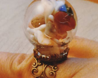 Glass and bronze ring