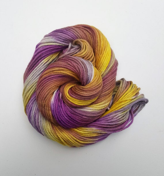 Resilient- 100 Organic Cotton, Hand Dyed, Fingering Weight, Hand Painted Yarn