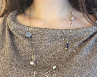 Natural gemstone long necklace