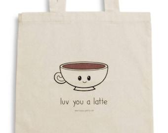Luv You a Latte Tote Bag, Reusable Shopper Bag, Cotton Tote, Shopping Bag, Eco Tote Bag, Canvas Tote, Book Bag, Shopping Bag, Kawaii, Coffee