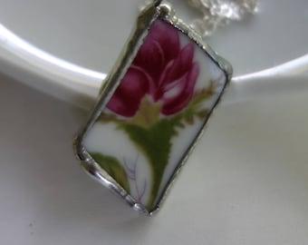 Pink rose pendant necklace- broken china jewelry- broken china pendant necklace - pink flower necklace- rose pendant