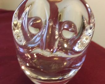 Serreb France Glass Owl Bowl