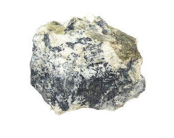 Scorzalite with Muscovite in Pegmatite Rock Matrix Mineral Specimen mined in S Dakota from Al Kidwell's Estate Collection, vintage label