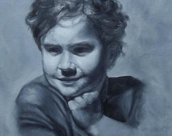 Mischievous Original Oil Painting Portrait of a Little Boy 12x16